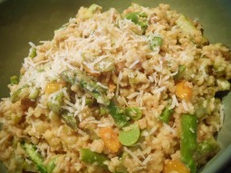 Fregola Sarda with asparagus, fava beans and golden cherry tomatoes