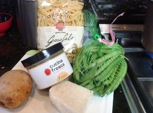 Ingredients for Ligurian pesto pasta