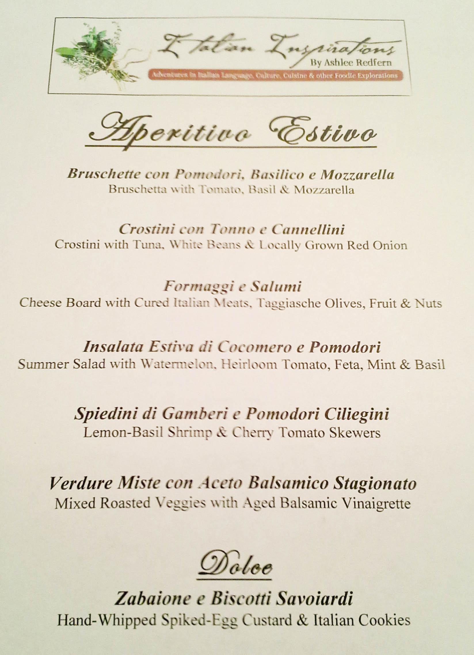 Aperitivo estivo italian summer happy hour italian for Italian menu